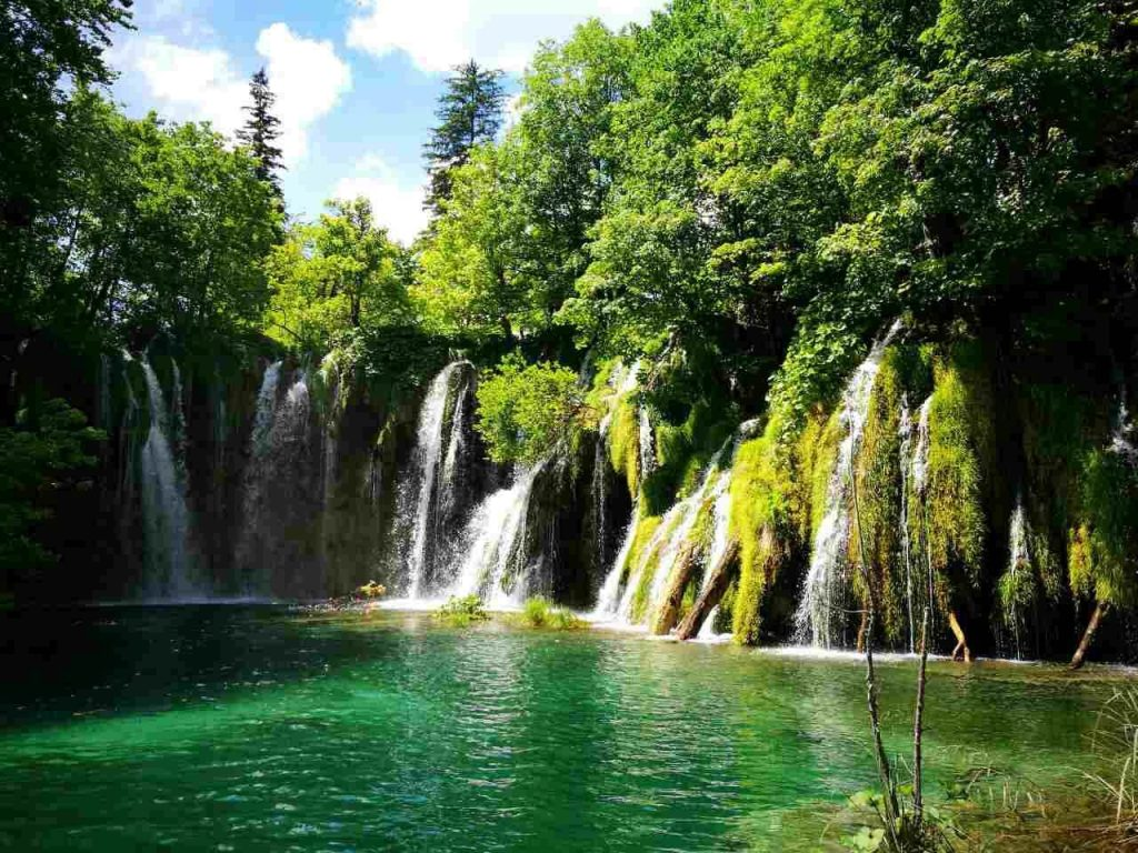 Green trees and waterfalls at Plitvice Lakes in Croatia