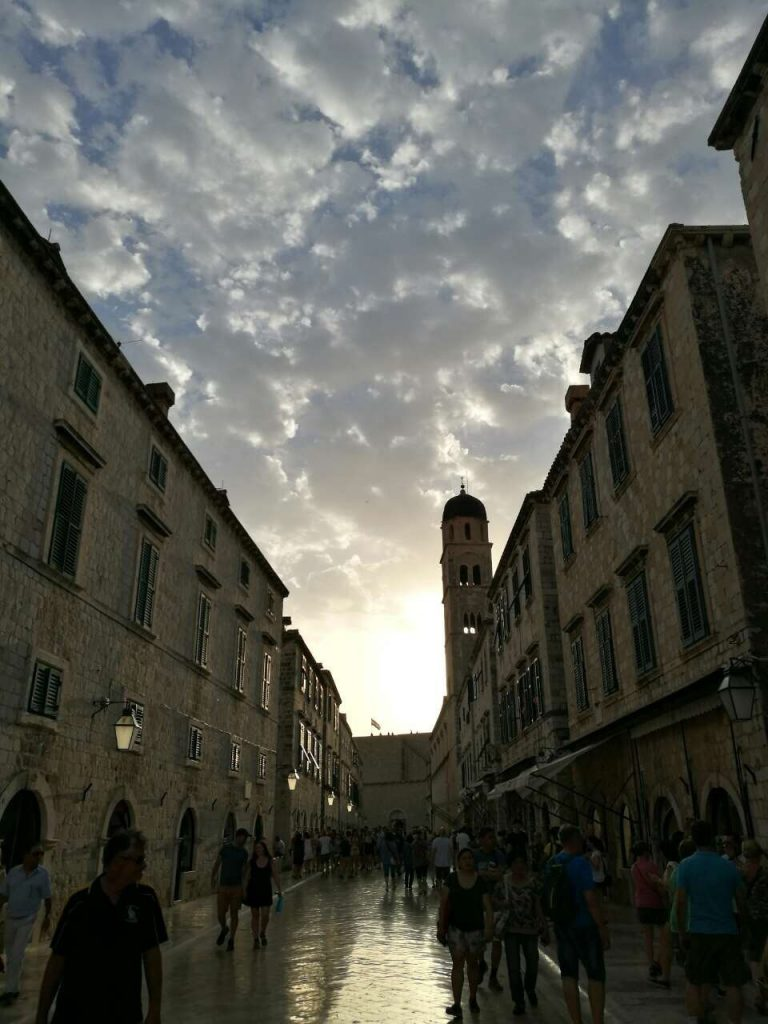 Cloudy sky over Stradun in Dubrovnik