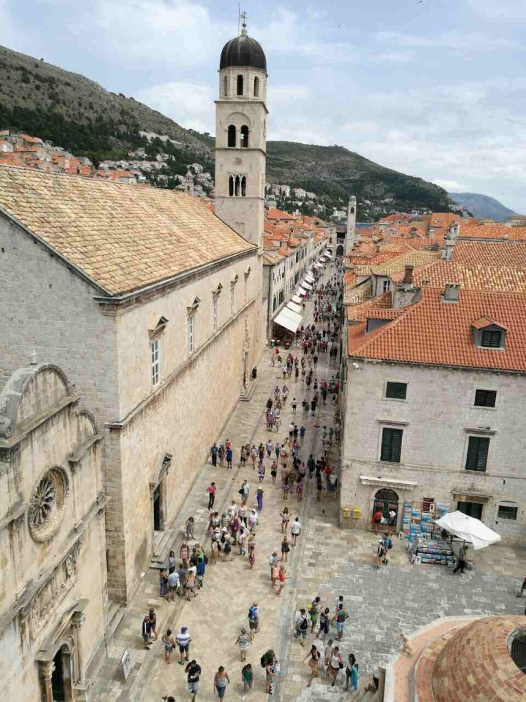 People walking on the main pedestrian street in Dubrovnik