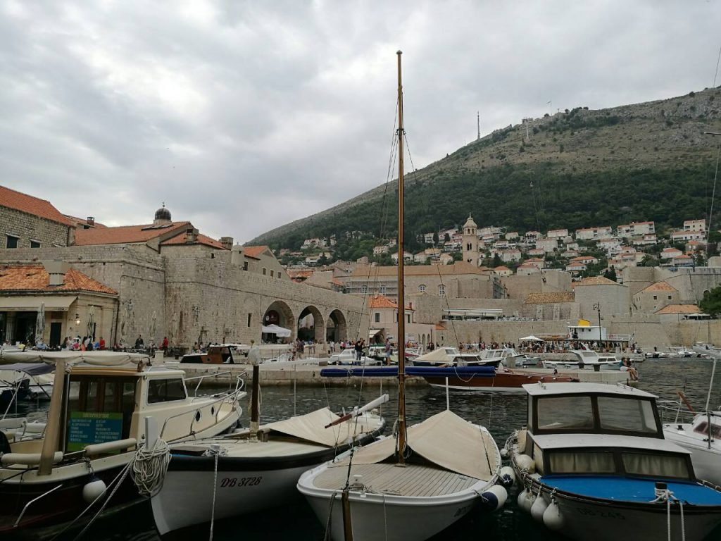 Boats at the harbor at the old town of Dubrovnik