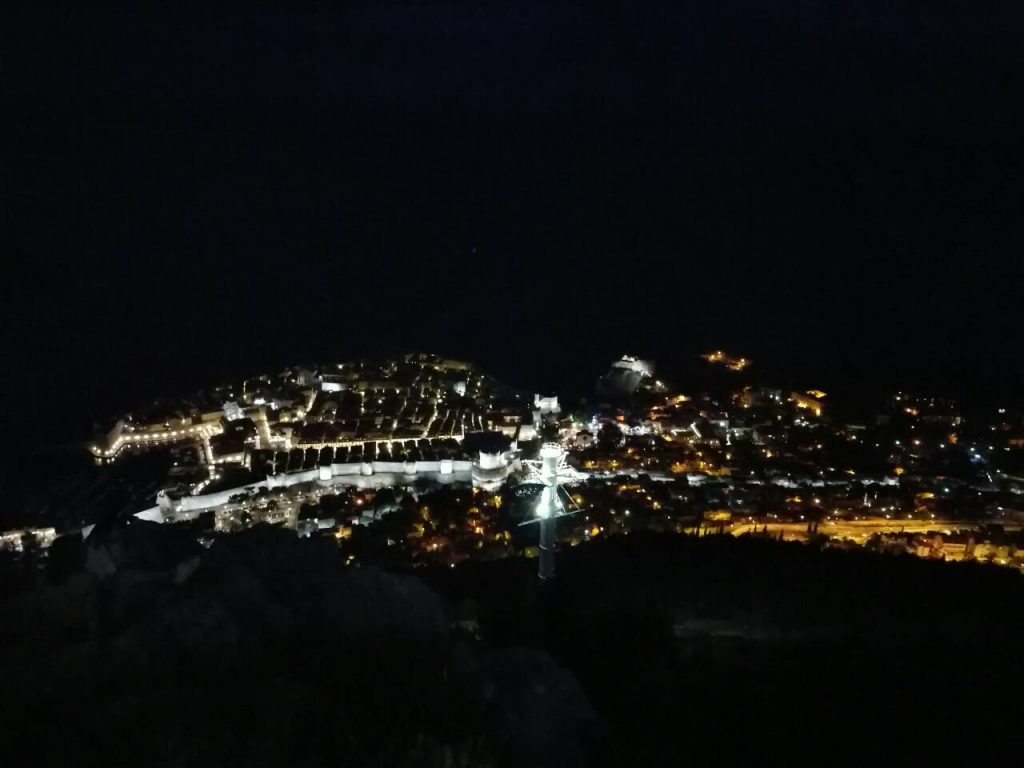 Panoramic view of Dubrovnik at night