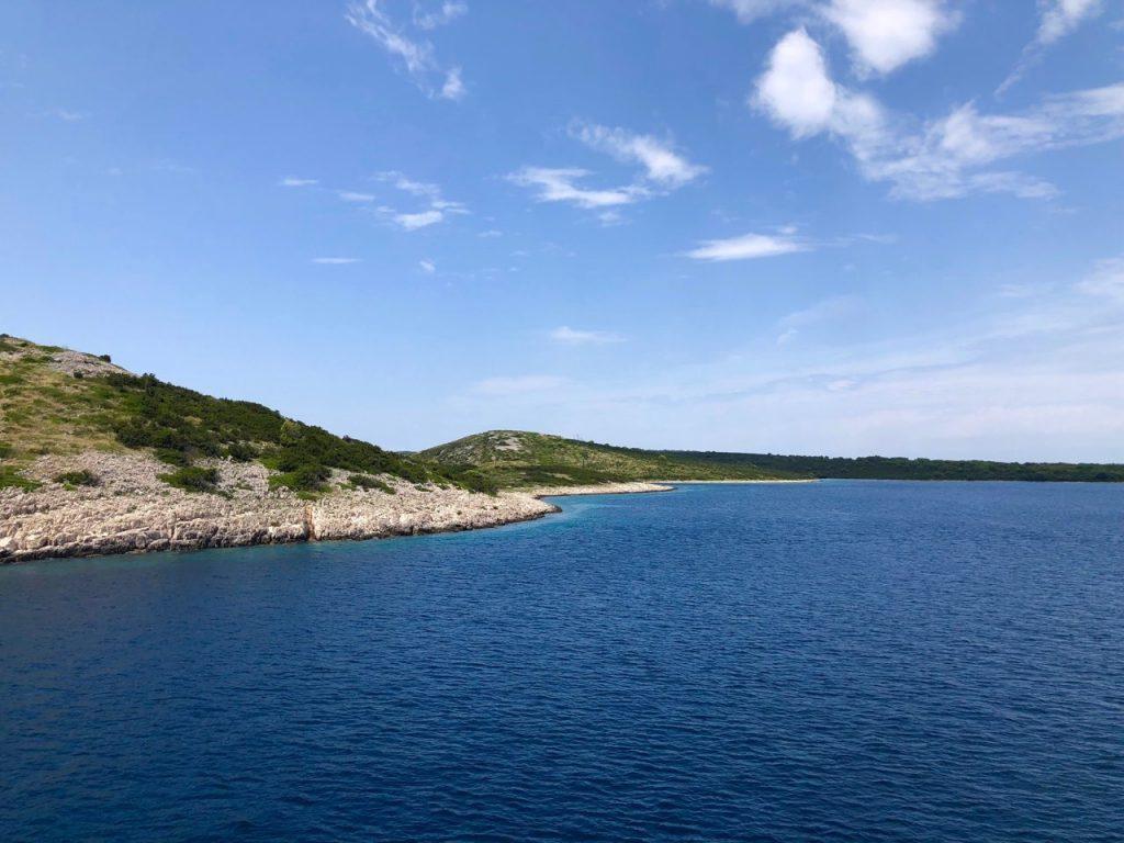 Blue sky, island and blue sea in Croatia