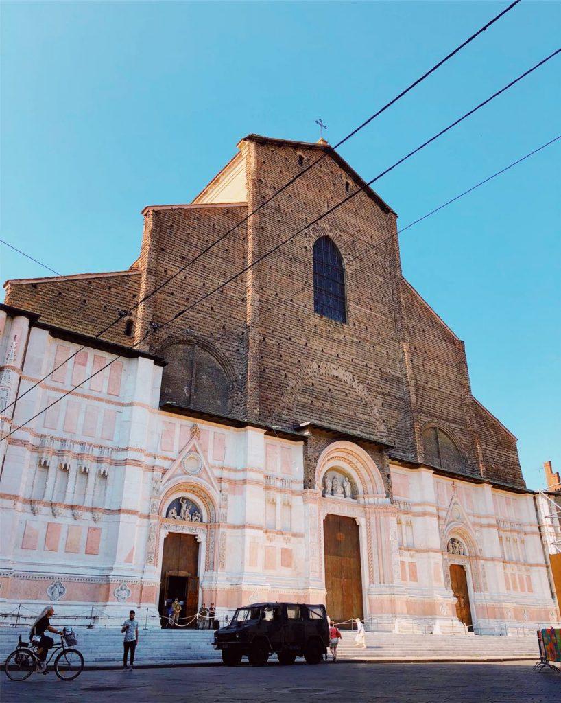 Basilica of San Petronio on Piazza Maggiore in Bologna, Italy