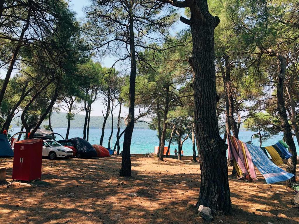 Trees and the blue sea at camp Zablaće in Croatia