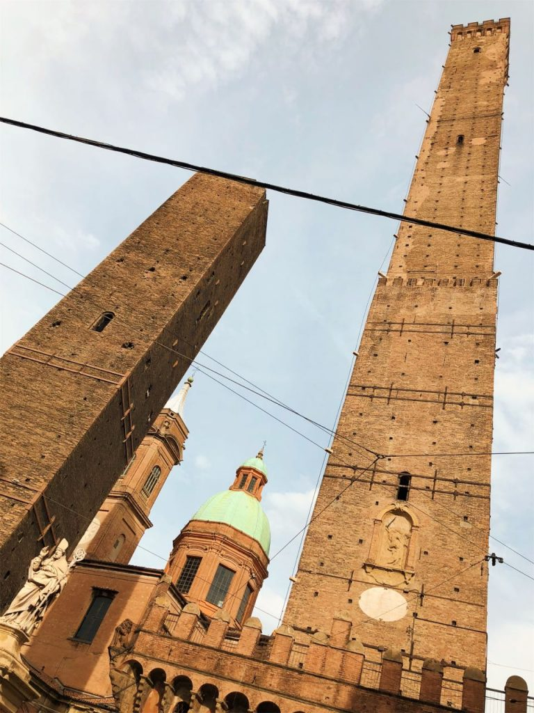 The two leaning towers of Bologna in Italy