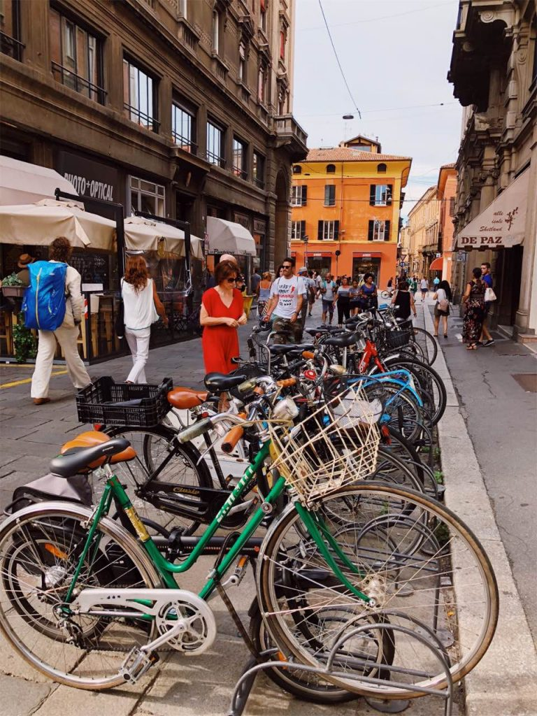 Parked bikes in the center of Bologna, Italy