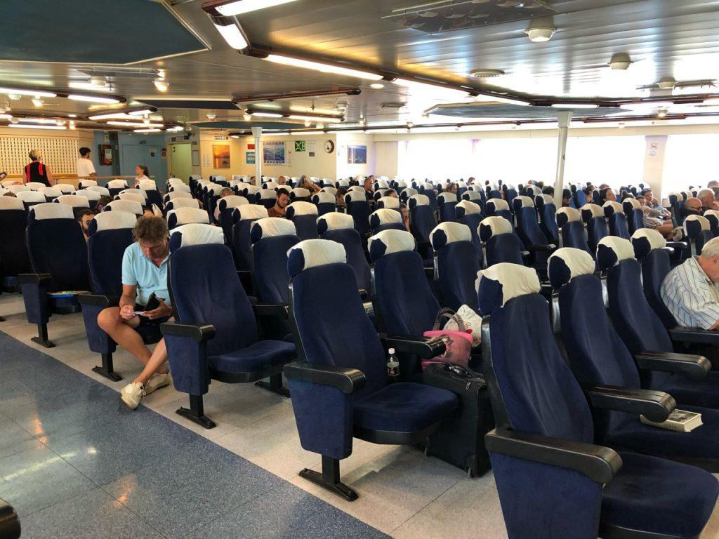 Blue passenger seats at Jadrolinija ferry