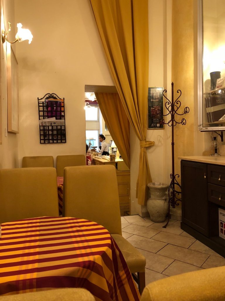 Sitting area at cafe Terzi in Bologna