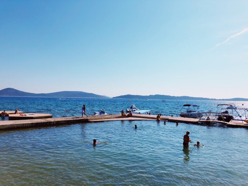 Blue sky and blue sea water in Vodice, Croatia