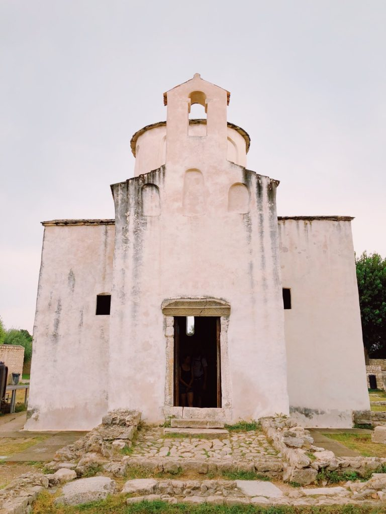 The entrance of the Church of the Holy Cross in Nin, Croatia