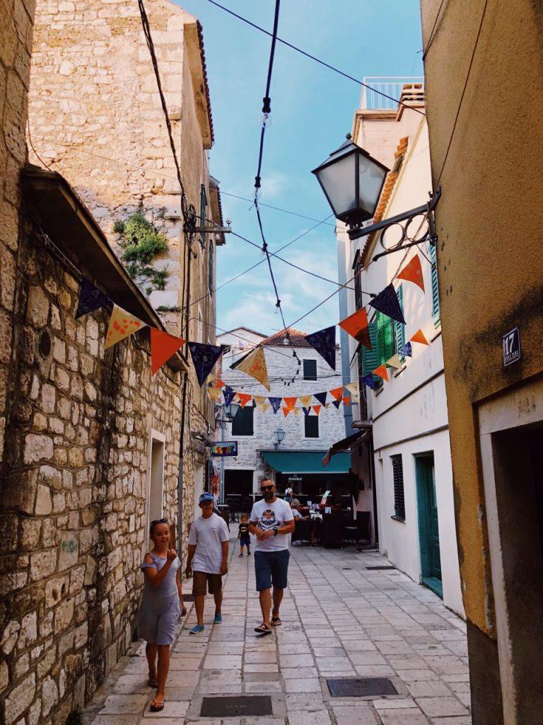 Narrow Mediterranean street in Vodice, Croatia