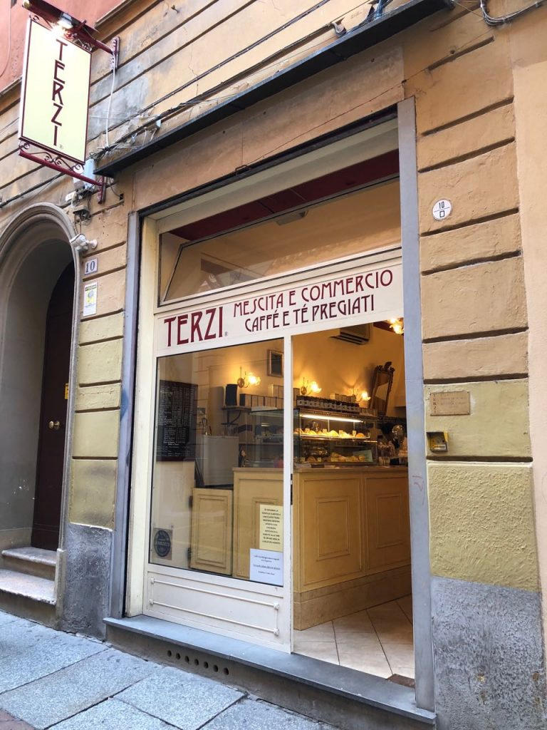 The entrance of cafe Terzi in Bologna