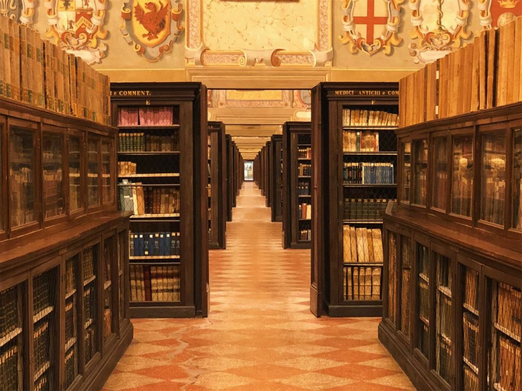 Old library shelfs at the Archiginnasio in bologna, Italy