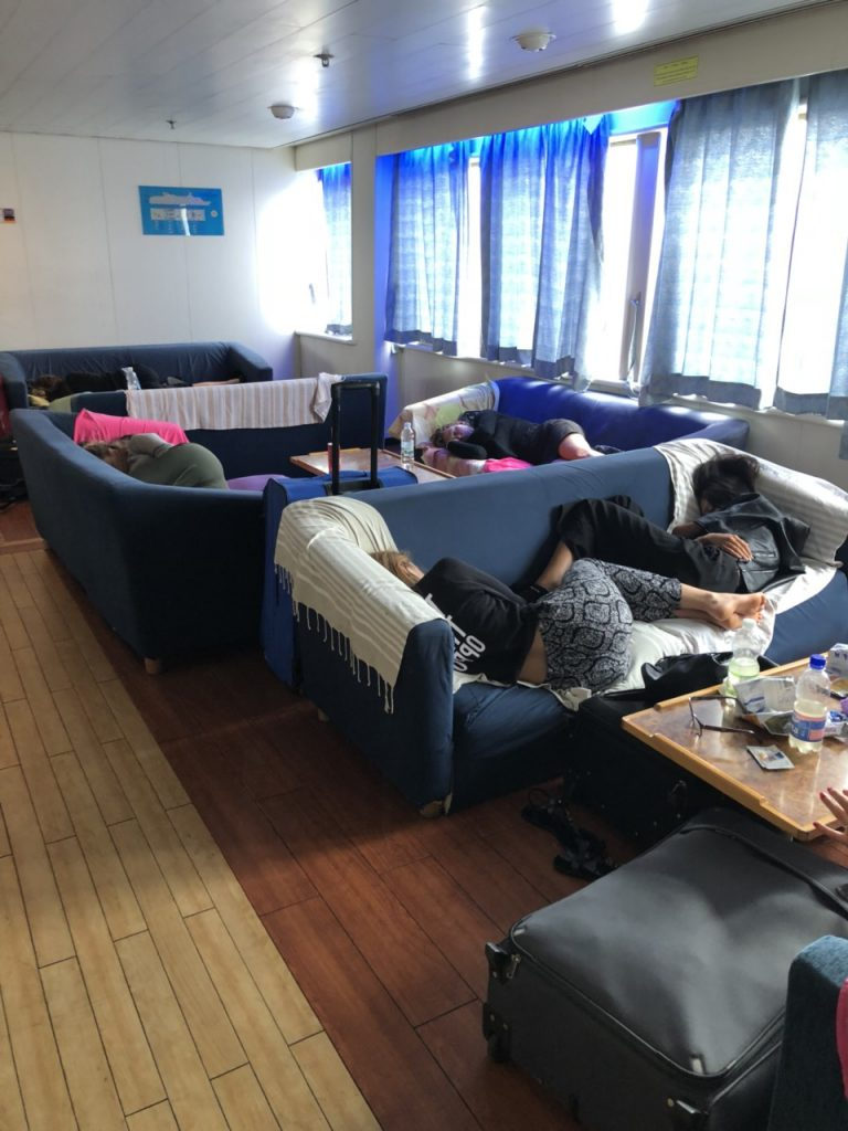 Sleeping passengers at a ferry from Zadar to Ancona