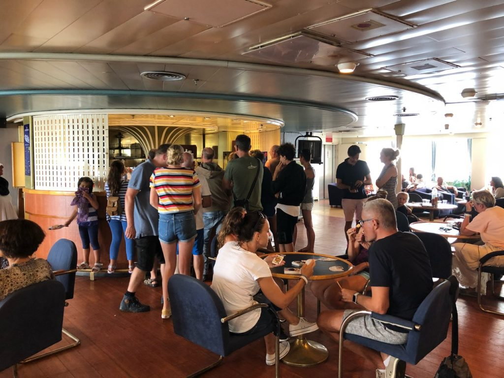 Queue at a cafeteria on a ferry from Croatia to Italy