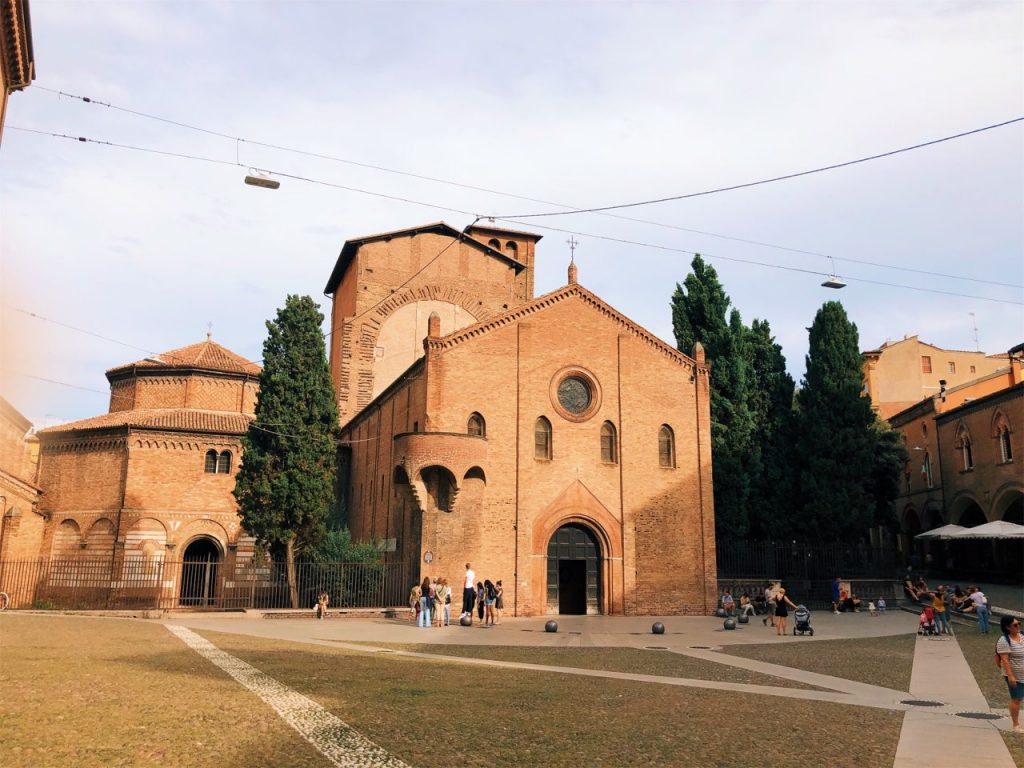 Orange brick churches at the San Stefano complex in Bologna, Italy