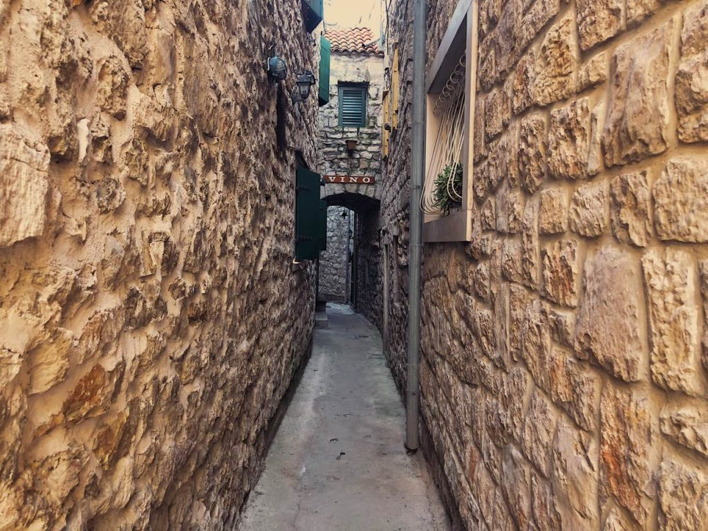 The narrowest street in Vodice, Croatia