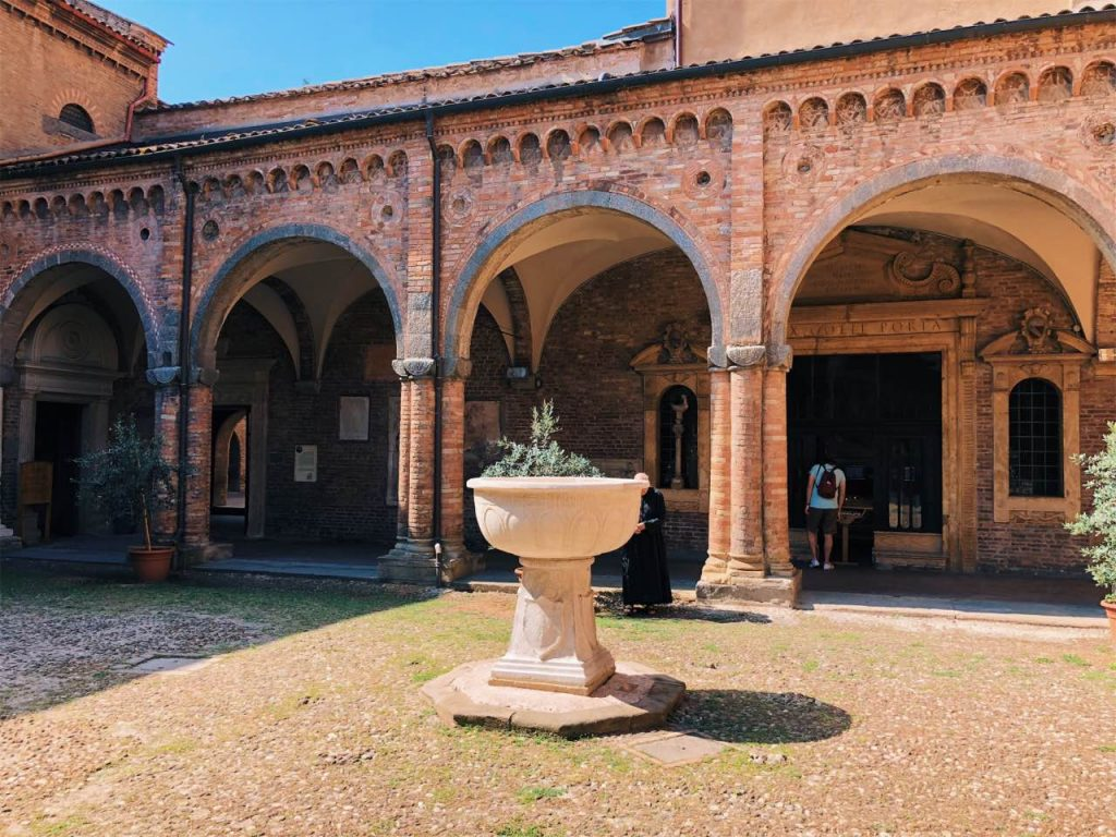 Church yard at San Stefano complex in Bologna, Italy