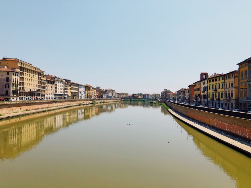 The Arno river in Pisa, Italy in the summer