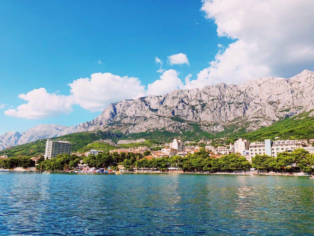 Blue sky, Biokovo mountain and the city of Makarska, Croatia