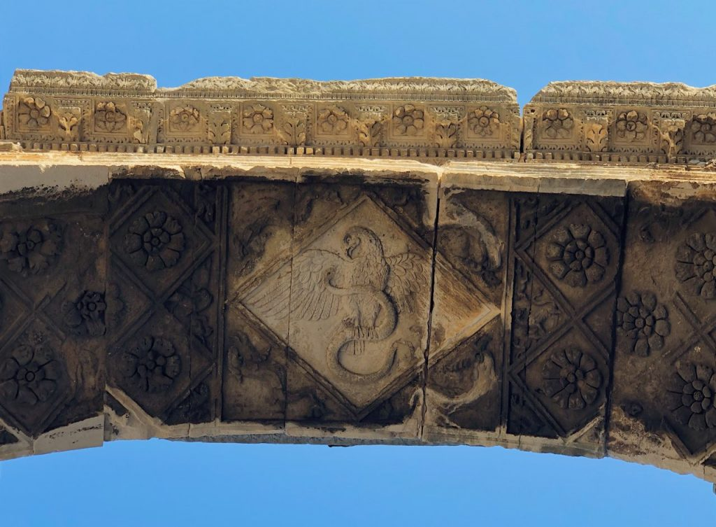 Detail with eagle from under the Arch of the Sergii in Pula, Croatia