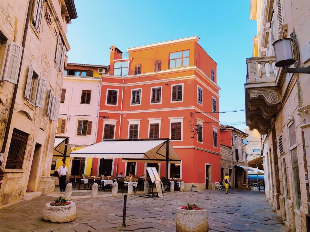 Colorful Mediterranean building at the center of Pula, Croatia
