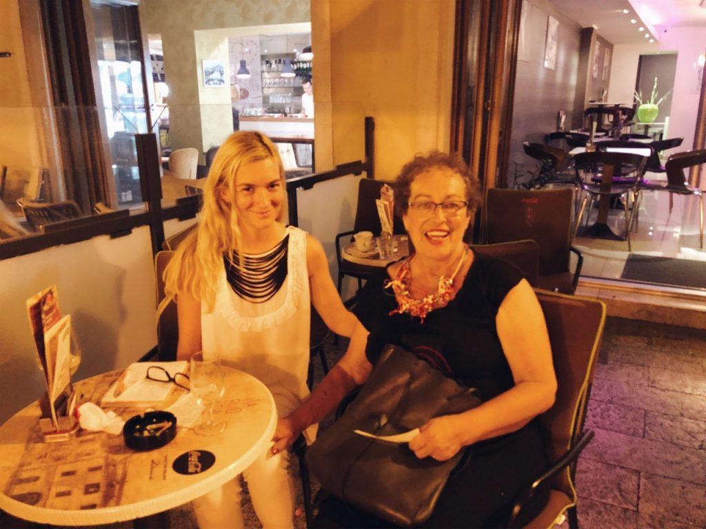Ilka and Jasenka Ramljak sitting at a cafe in Sibenik, Croatia