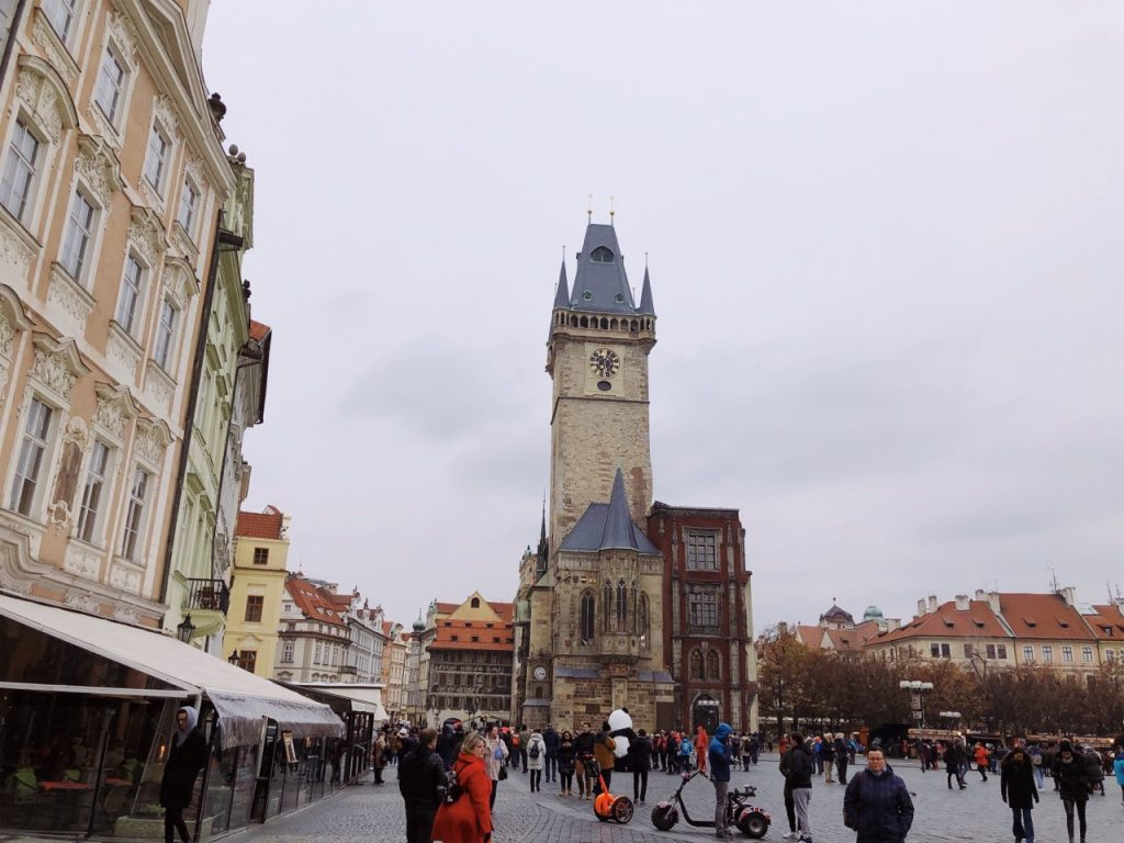 Clock tower in Prague in November