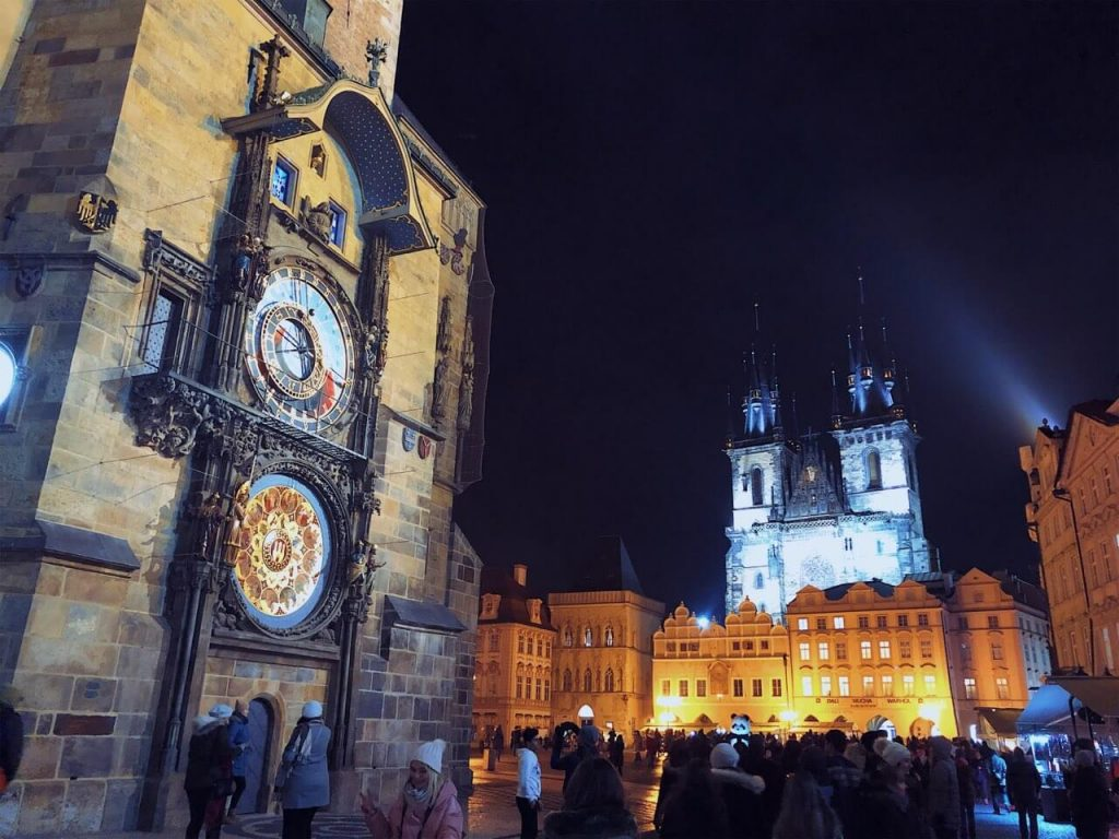 Main square in Prague at night