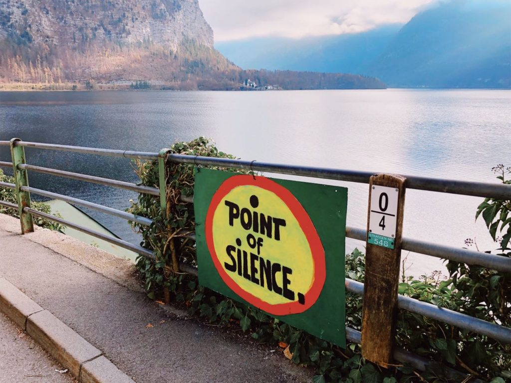 Point of silence sign next to the lake in Hallstatt