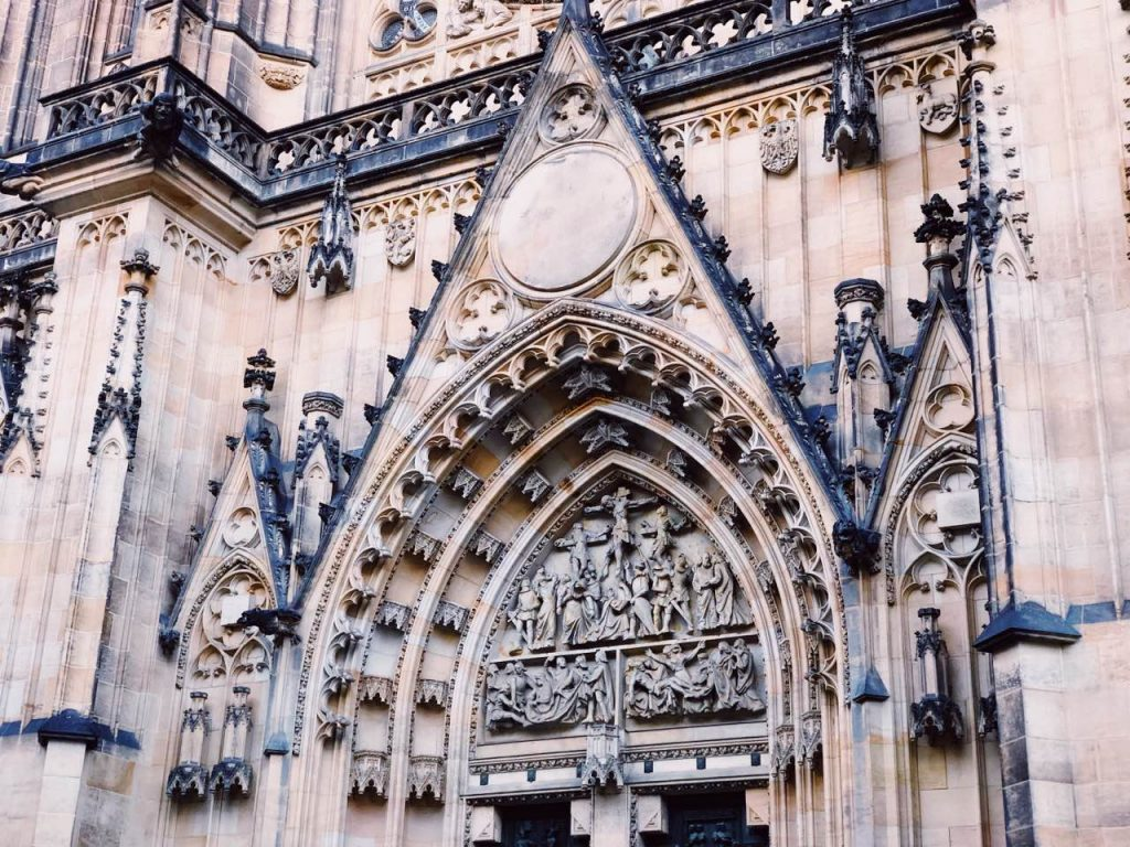 Detail from main entrance of medieval cathedral in Prague