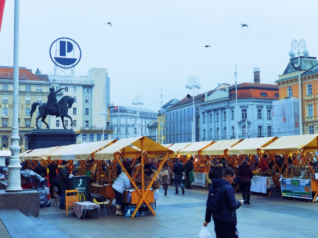 Ban Jelačić Square in Zagreb at the end of November