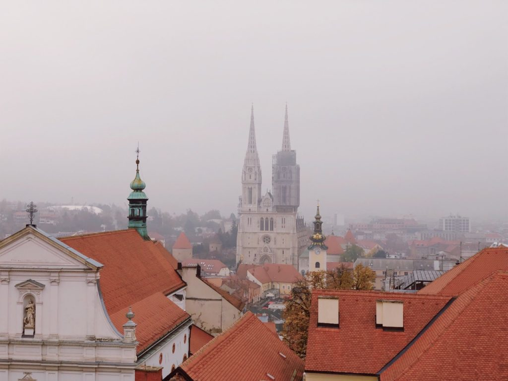 The cathedral of Zagreb shot from the top of the Lotrščak Tower