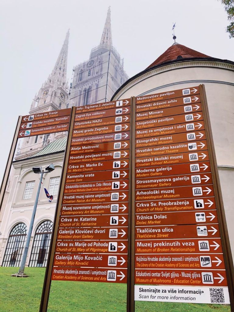 Brown signs of heritage places in Zagreb, Croatia