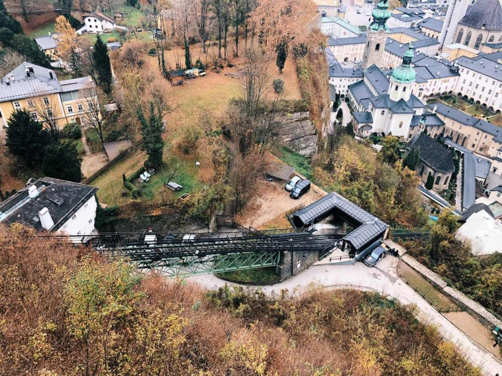The funicular at the Hohemsalzburg fortress shot from above