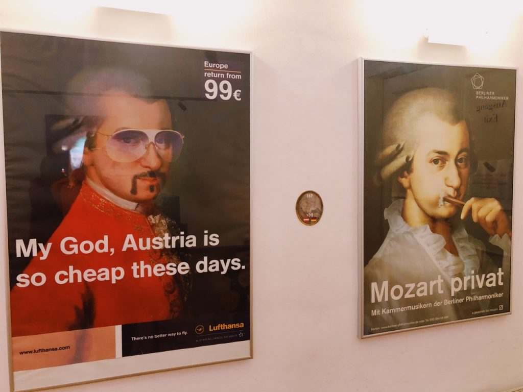 Two fun posters with Mozart at the last room at the Mozart's Residence Museum