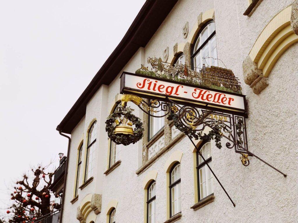The old school sign of Stieglkeller in Salzburg, Austria