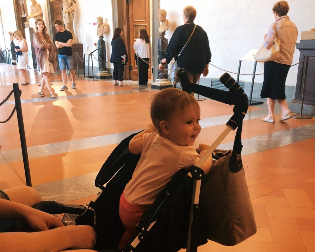 Baby girl at the Uffizi gallery in Florence