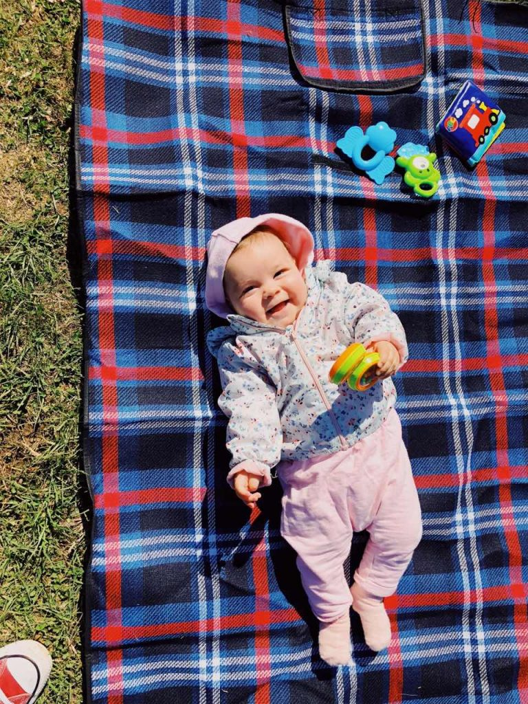 Baby girl smiling at a picnic at Vitosha near Sofia