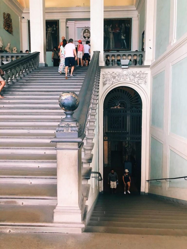 Staircase at the Uffizi gallery in Florence
