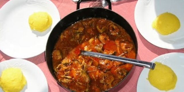 Croatian meal with fish brudet