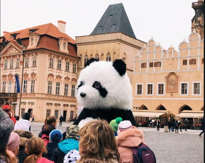 A giant dancing Panda at the main square in Prague