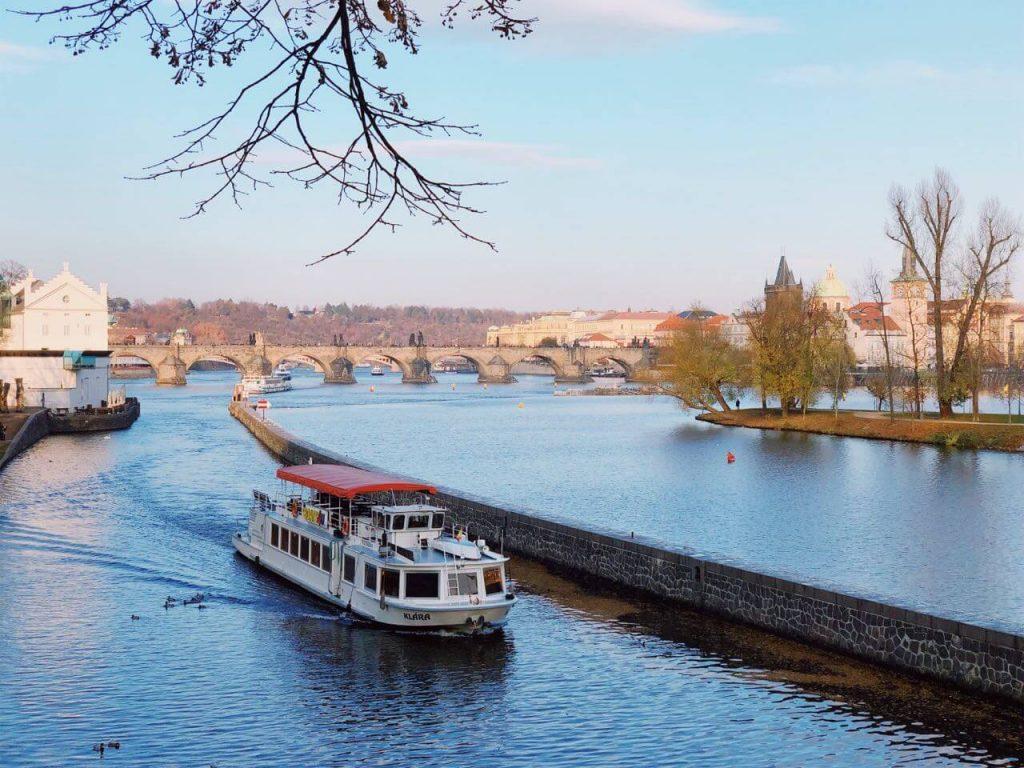 A boat on Vltava River in Prague, the Czech Republic