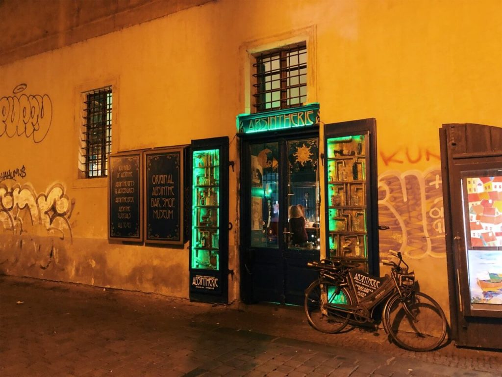 Absinte bar in Prague at night