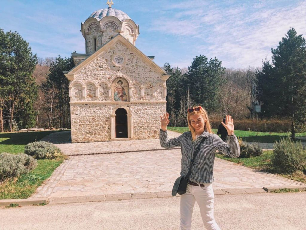 Ilka in front of the small church in Staro Hopovo