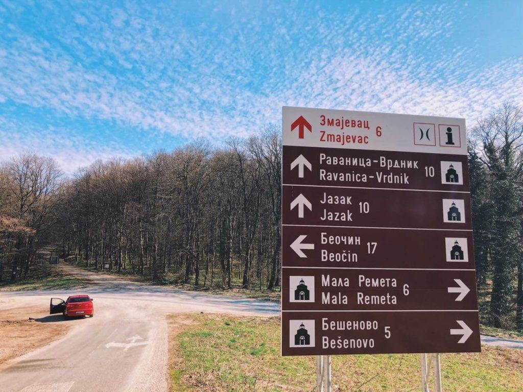 Red car in national park Fruska gora near Novi Sad