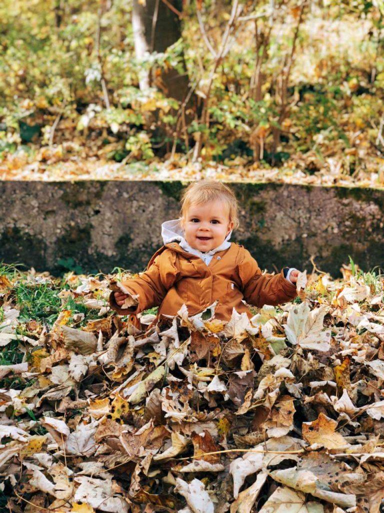 Child playing at a garden in Vitosha near Sofia