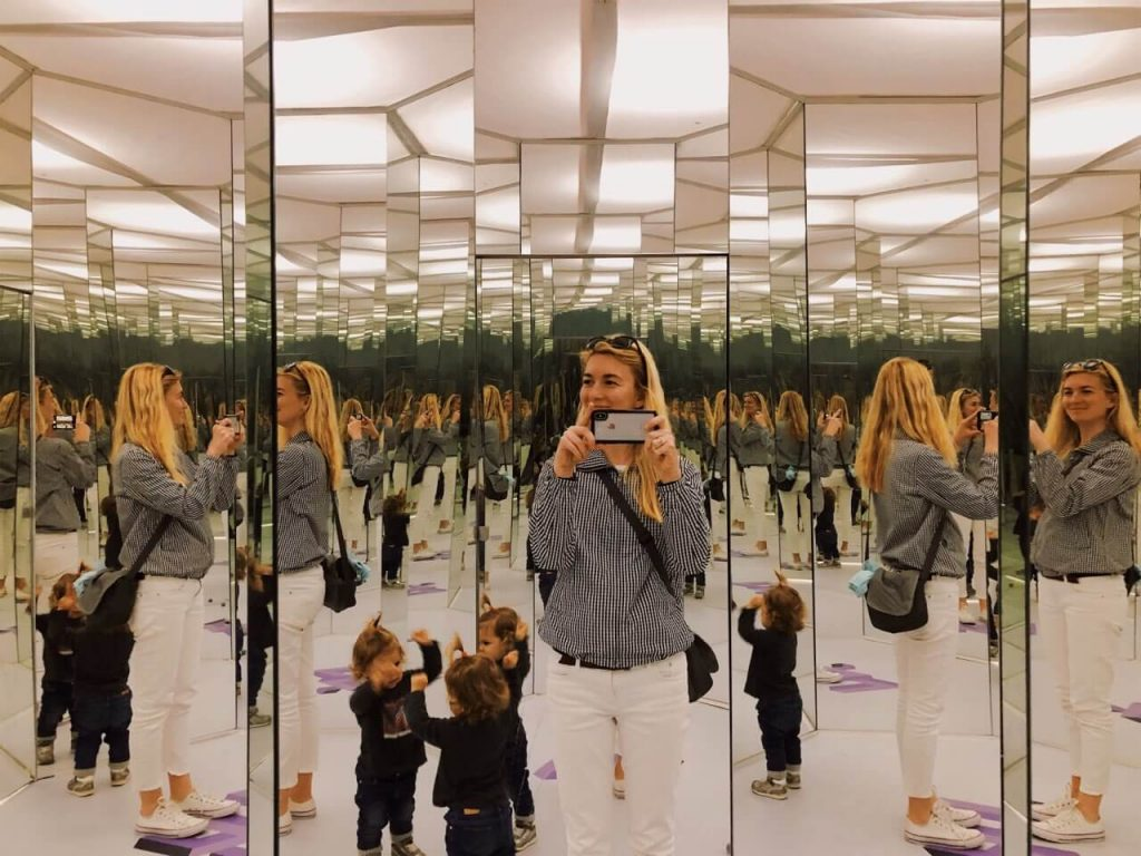 Mother and daughter at Museum of illusions in Zadar, Croatia