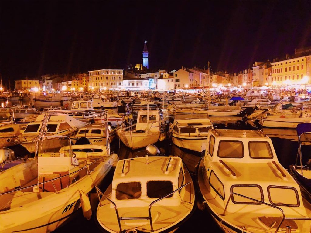 Rovinj at night thanks to traveling with a grandparent