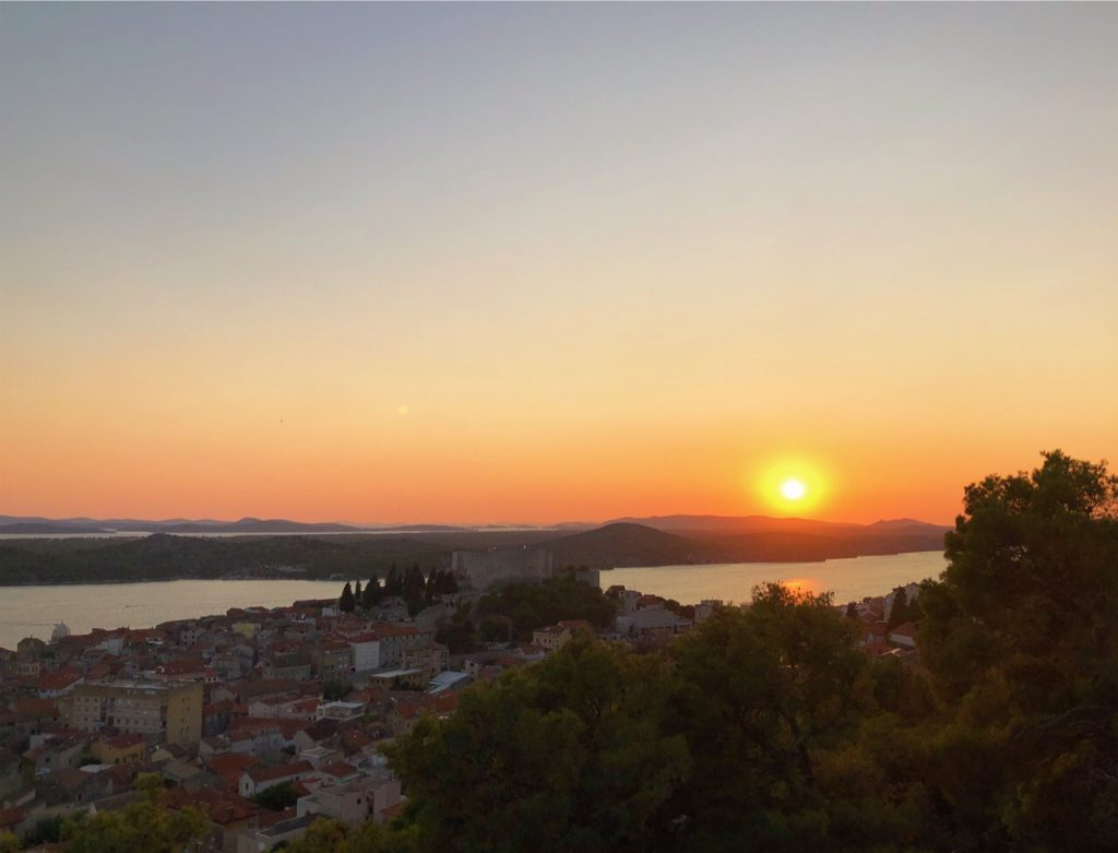 St. Mihovil Fortress and the sunset as seen from Barone Fortress